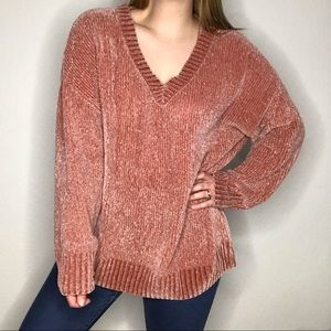 Zenana Outfitters Chenille Pink V Neck Sweater